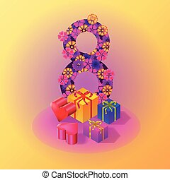 March 8 congratulation isometric decorations with gifts and hearts