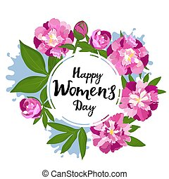 March 8. International Women s Day. Greeting frame with peonies.