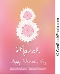 March 8 international women s day. Vector greeting card.