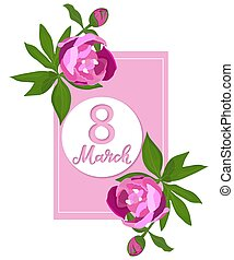 March 8. International Women s Day. Vertical Banner with Peonies.