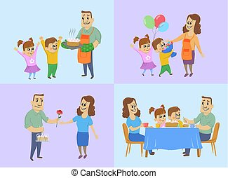 March 8, international women's day concept. Husband and children prepare a cake, give gifts to mom and have dinner with the whole family at the holiday table. Vector illustration.