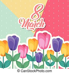 march 8 international womens day greeting card floral image