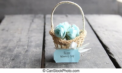 March 8. International Women's Day greeting card with...