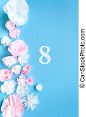 March 8 Women's Day card with paper flowers