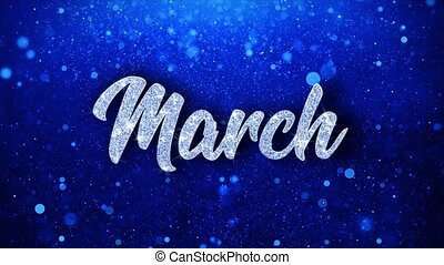 March Blue Text Wishes Particles Greetings, Invitation, ...
