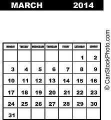 March calendar 2014 isolated