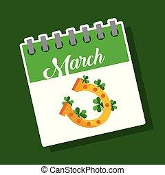 march calendar gold horseshoe clover st patricks day