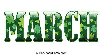 March in glossy text filled with a clover pattern