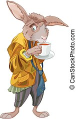 March Hare - Illustration of March Hare drink a tea