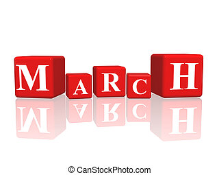 march in 3d cubes - 3d red cubes with letters makes march