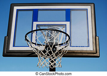 March Madness - New basketball net and backboard with blue...