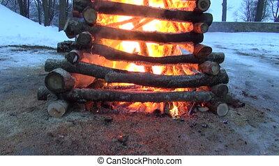 march mardi gras fire in evening - spring equinox...