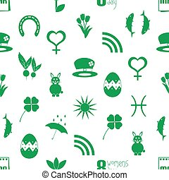 march month theme set of simple icons seamless green pattern eps10