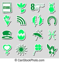 march month theme set of simple stickers eps10