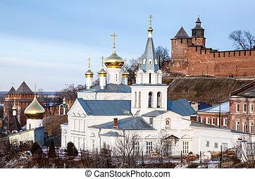 March view Church of Elijah the Prophet and Kremlin Nizhny Novgorod Russia