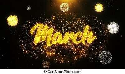 March Wishes Greetings card, Invitation, Celebration Firework Looped