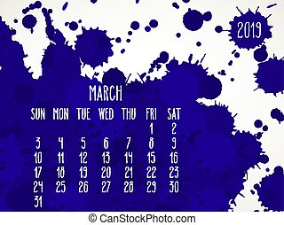 March year 2019 blue paint monthly calendar