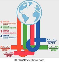 marchandises, bateau, exportation, limite, marin, importation, cargaison