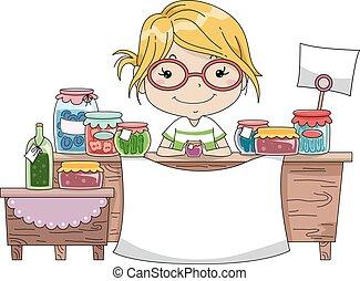 marchandises, compteur, fait, maison, girl, bannière, gosse