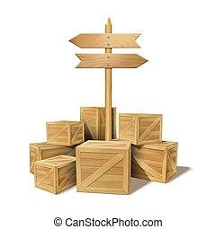 marchandises, empilé, bois, boîtes, tas, scellé