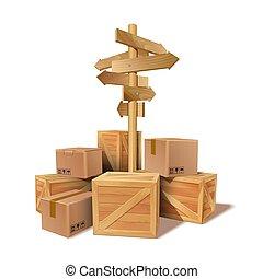 marchandises, empilé, bois, boxes., tas, carton
