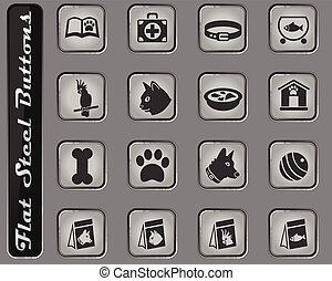 marchandises, ensemble, animaux familiers, icône