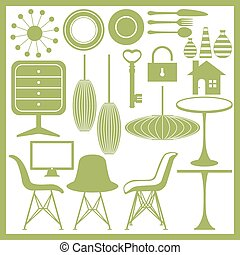 marchandises, ensemble, meubles, icône, maison