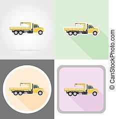 marchandises, illustration, vecteur, camion, grue, levage