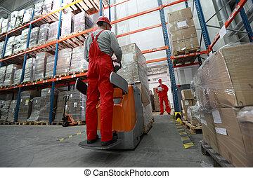 marchandises, livrer, entrepôt