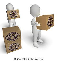 marchandises, timbre, denrées, boîtes, importation,...