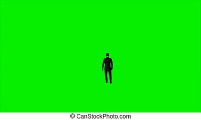 marche, écran, contre, américain, vert, homme affaires, afro