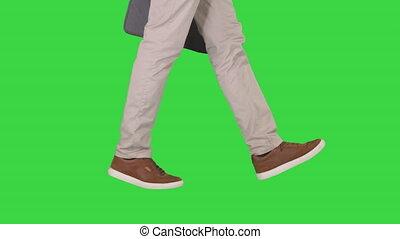 marche, équipe, chroma, jean, écran, pieds, espadrilles, key., vert
