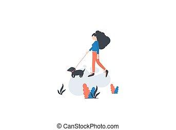 marche, été, extérieur, chien, printemps, vecteur, activities., girl