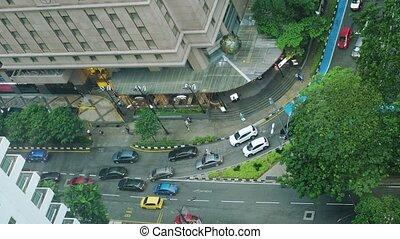 marche, aérien, gens, sommet, bas, confiture, trafic, rain., 3840x2160, pendant, route, vue