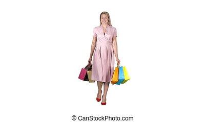 marche, achats femme, arrière-plan., appareil photo, tenue, blanc
