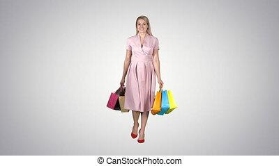 marche, achats femme, gradient, arrière-plan., appareil photo, tenue