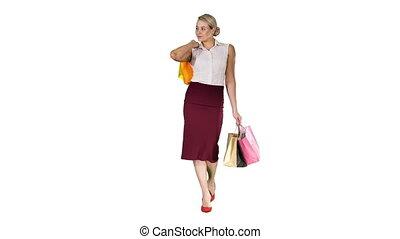 marche, achats femme, sacs, arrière-plan., tenue, sourire, blanc, heureux
