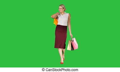 marche, achats femme, sacs, chroma, écran, vert, key., tenue, sourire heureux