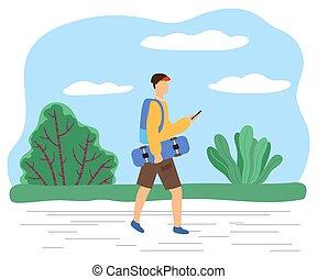 marche, adolescent, patineur, garçon, texting, téléphone