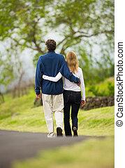 marche, amour, couple, milieu, mûrir, âge