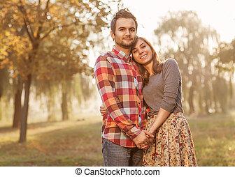 marche, amour, couple, parc, jeune, automne