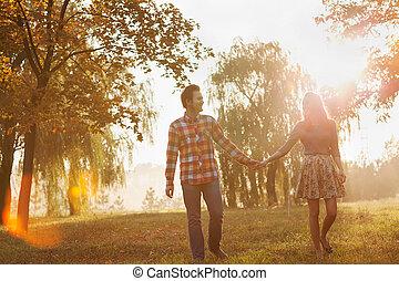 marche, amour, couple, parc, jeune, automne, tenant mains