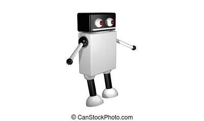 marche, arrière-plan., robot, isolé, rendre, 3d