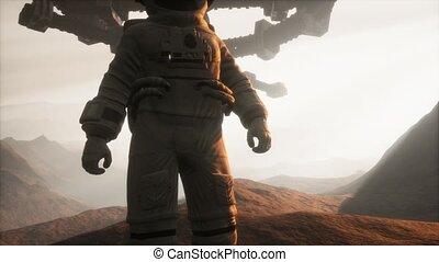 marche, astronaute, mars, planète