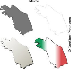 Marche blank detailed outline map set - Marche region blank...