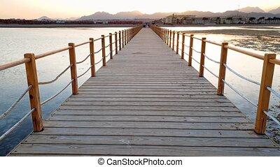 marche, bois, grand, sur, côte, vidéo, 4k, ocean., vagues, rouler, jetée, interminable