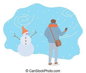 marche, bonhomme de neige, tempête neige, homme, dehors, type