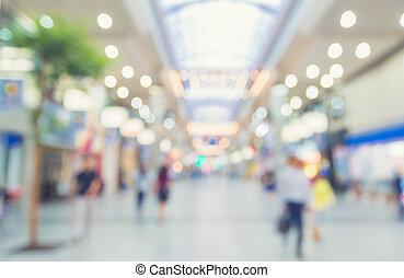 marche, brouillé, centre commercial, gens