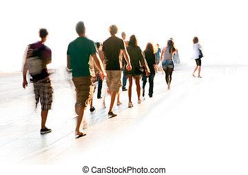 marche, brouillé, gens