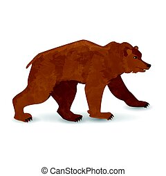 marche, brown., ours, illustration, ton, design.